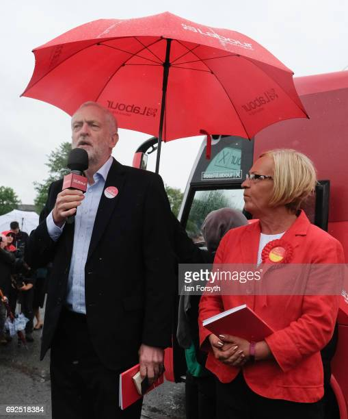 Labour Leader Jeremy Corbyn arrives on the campaign battle bus with Labour candidate for Middlesbrough South and East Cleveland Tracy Harvey to speak...