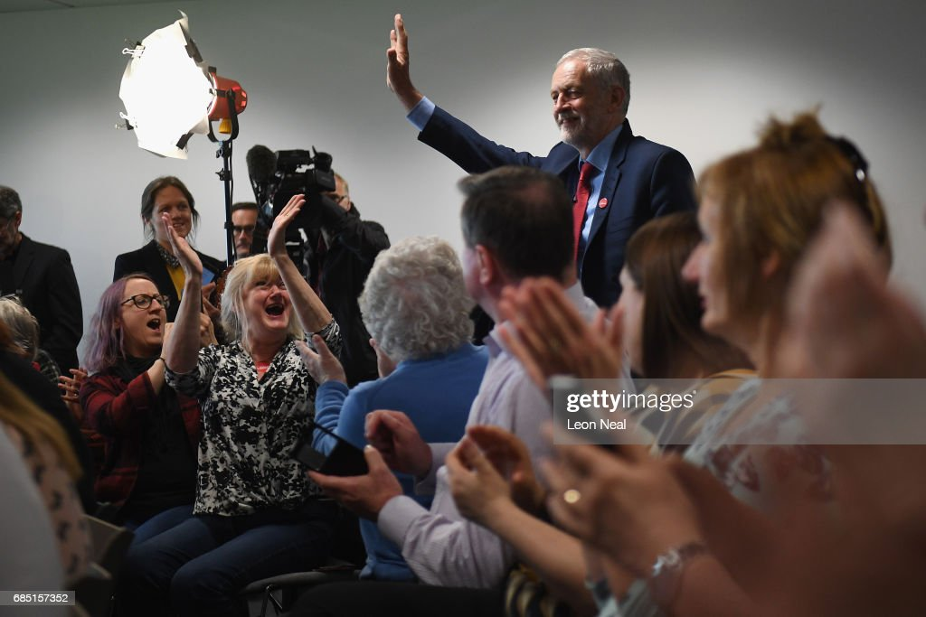 Labour leader Jeremy Corbyn arrives to campaign on May 19, 2017 in Peterborough, England. Britain goes to the polls on June 8 to elect a new parliament in a general election.