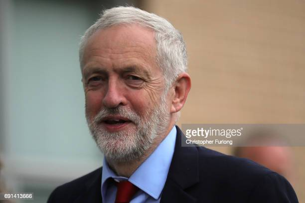 Labour leader Jeremy Corbyn arrives to deliver a speech during a General Election campaign visit at York Innovation Centre on June 2 2017 in York...