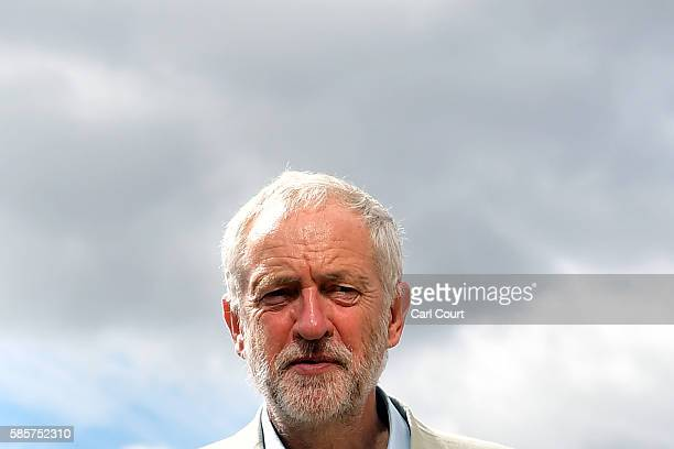 Labour leader Jeremy Corbyn arrives to deliver a speech in which he will lay out his '10 promises to transform Britain' on August 4 2016 in Dagenham...