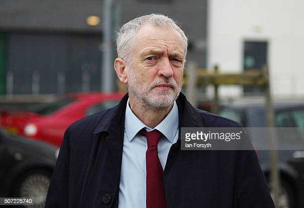 Labour leader Jeremy Corbyn arrives to visit the Science Technology Engineering and Maths further education college on January 28 2016 in...