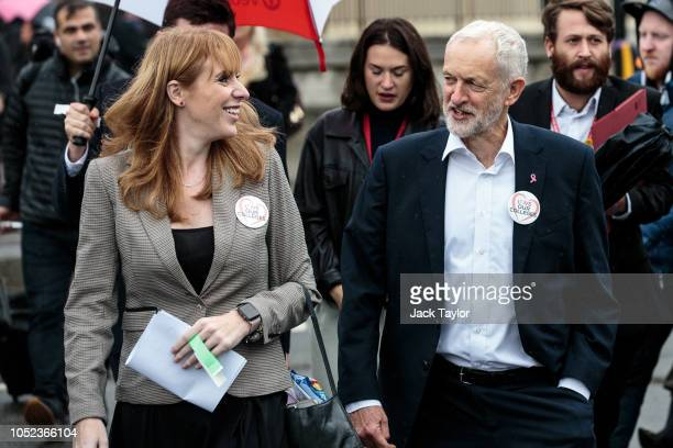 Labour Leader Jeremy Corbyn arrives with Shadow Education Minister Angela Rayner MP for a rally by members of the National Education Union in...