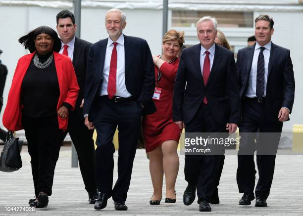 Labour Leader Jeremy Corbyn arrives with the shadow cabinet ahead of his speech to party delegates on the final day of the Labour Party Conference on...