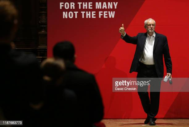 Labour leader Jeremy Corbyn attends a campaign meeting at the McEwan Hall on November 14 2019 in Edinburgh Scotland