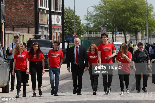 Labour leader Jeremy Corbyn attends a campaign rally with young activists on May 22 2017 in Hull England Britain goes to the polls on June 8 to elect...