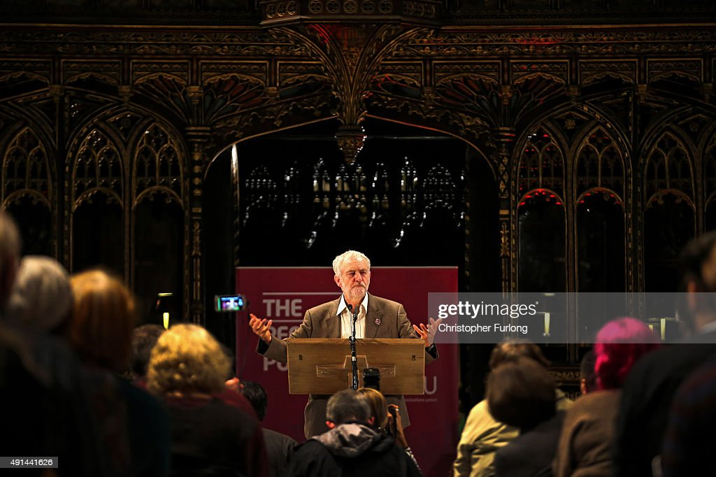 Labour Leader Jeremy Corbyn attends a 'People's Post' rally organised by the Communications Workers Union at Manchester Cathedral on October 5, 2015 in Manchester, England. Protesters and anti-austerity campaigners are continuing their demonstrations outside Manchester Central as the 2015 Conservative autumn conference continues.