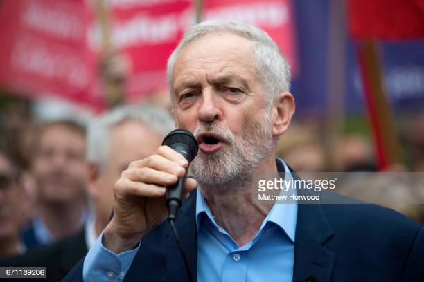 Labour Leader Jeremy Corbyn attends a rally in Whitchurch in the Cardiff North constituency on April 21 2017 in Cardiff Wales Labour is hoping to...