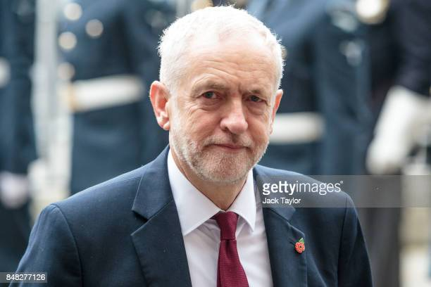 Labour leader Jeremy Corbyn attends a service to mark the 77th anniversary of the Battle of Britain at Westminster Abbey on September 17 2017 in...