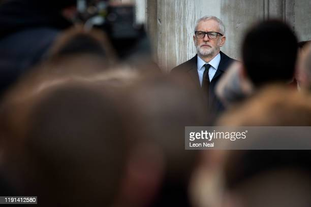 Labour Leader Jeremy Corbyn attends a vigil for victims Jack Merritt and Saskia Jones 23 of the London Bridge attack and to honour the public and...
