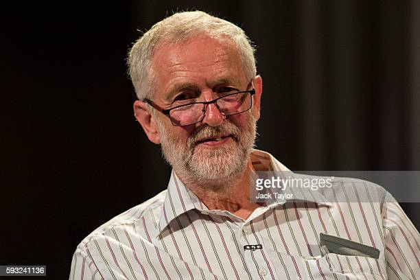 Labour Leader Jeremy Corbyn before addressing thousands of supporters during a rally at Ruach City Church in Kilburn on August 21 2016 in London...