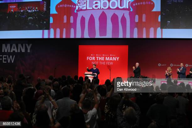 Labour Leader Jeremy Corbyn claps after Shadow First Secretary of State Emily Thornberry delivered her key note speech in the main hall during day...