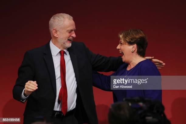 Labour Leader Jeremy Corbyn congratulates Shadow First Secretary of State Emily Thornberry after her key note speach in the main hall during day two...