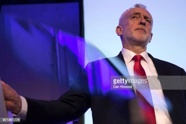 Labour Leader Jeremy Corbyn delivers a speech at The Queen Elizabeth II Conference Centre on February 20 2018 in London England Corbyn addressed the...