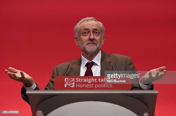 Labour leader Jeremy Corbyn delivers a speech during the third day of the Labour Party Autumn Conference on September 29 2015 in Brighton England The...