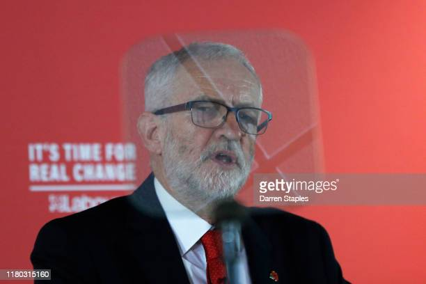 Labour leader Jeremy Corbyn delivers a speech on leadership at the University of Wolverhampton Telford Campus on November 6 2019 in Telford England...
