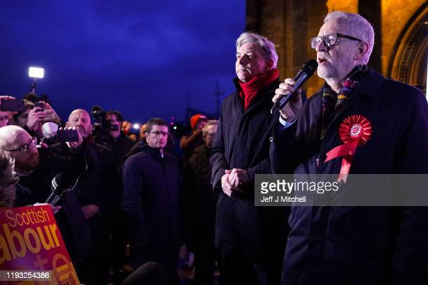 Labour Leader Jeremy Corbyn delivers a stump speech to supporters and activists in Govan on the final day of campaigning in the British General...