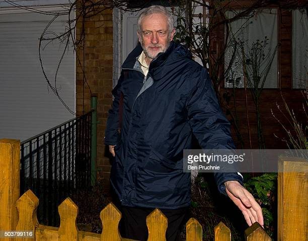 Labour leader Jeremy Corbyn departs his North London home on January 7 2016 in London England The Labour leader yesterday faced a series of...