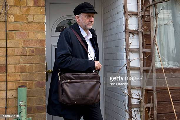 Labour Leader Jeremy Corbyn departs his North London home on the day Chancellor of the Exchequer George Osbourne will announce the 2016 budget...