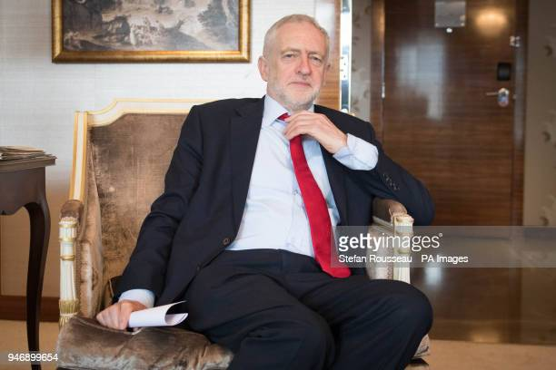 Labour leader Jeremy Corbyn during a meeting with the President of Ghana Nana AkufoAddo on the first day of this year's Commonwealth Heads of...