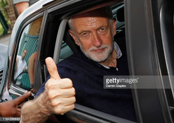 Labour leader Jeremy Corbyn gestures as he leaves a rally after outlining plans for Labour's green industrial revolution in the North on July 26 2019...