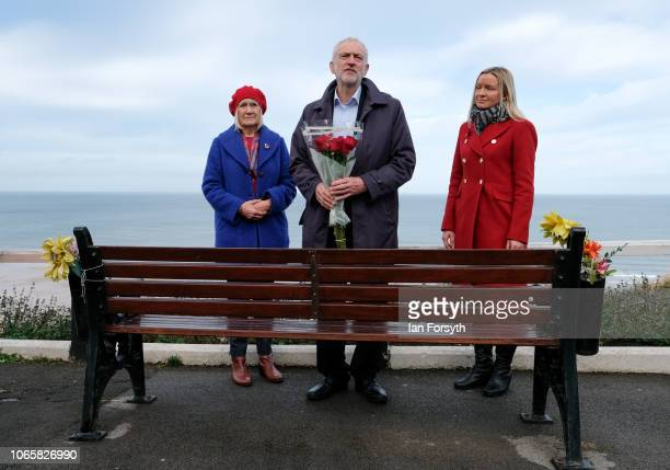 Labour leader Jeremy Corbyn gives a short speech as he lays flowers on a bench dedicated to the MP Dr Ashok Kumar who died in 2010 while serving as...