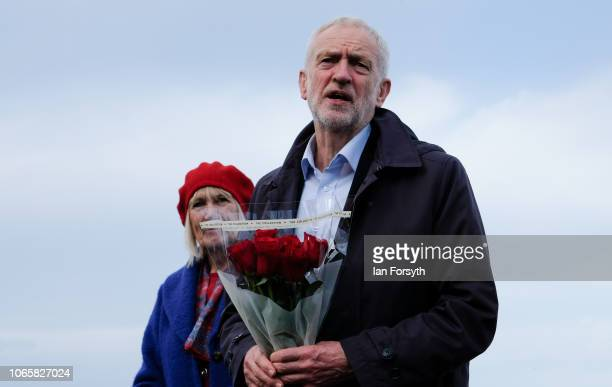 Labour leader Jeremy Corbyn gives a short speech during a visit as he lays flowers on a bench dedicated to the MP Dr Ashok Kumar who died in 2010...