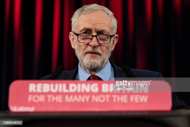 Labour Leader Jeremy Corbyn gives a speech at a rally at St Mary's in the Castle on January 17 2019 in Hastings England British Prime Minister...