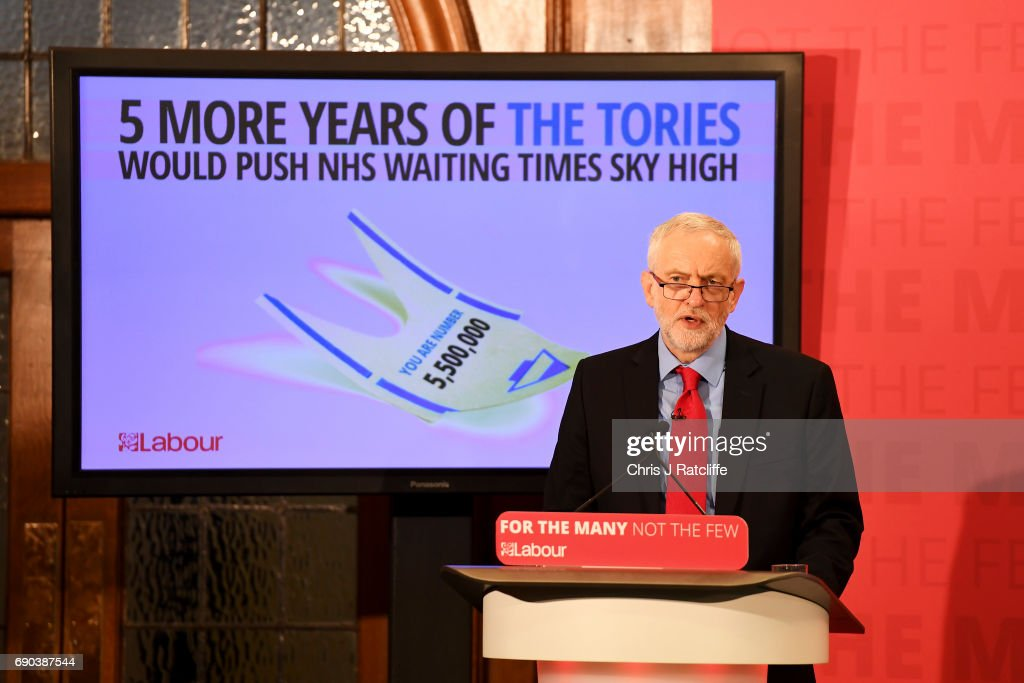 Labour leader Jeremy Corbyn gives a speech at Church House in Westminster on May 31, 2017 in London, England. A new poll suggests Britain could be heading for a hung parliament as the Conservatives lead narrows.