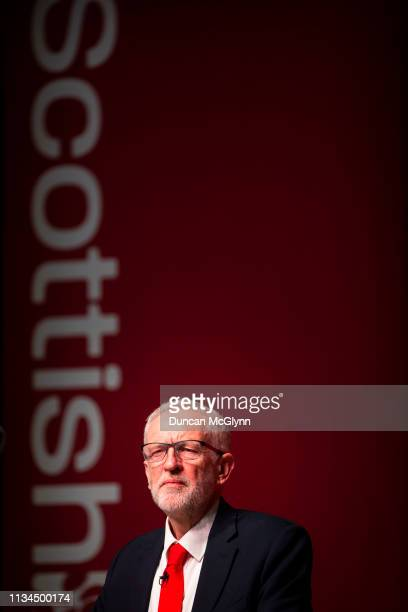 Labour leader Jeremy Corbyn gives his keynote speech to the Scottish Labour Party Conference at the Caird Hall on March 8 2019 in Dundee Scotland The...