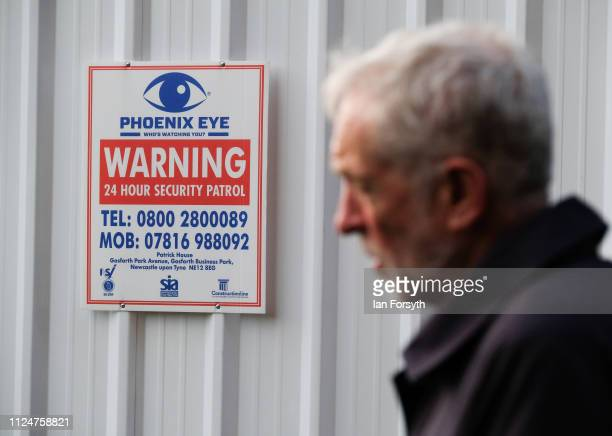 Labour leader Jeremy Corbyn gives media interviews as he visits Middlesbrough Centre Square on January 25 2019 in Middlesbrough England The visit to...