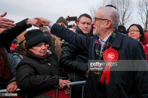 Labour leader Jeremy Corbyn greets supporters after delivering a stump speech at the Sporting Lodge Inn on December 11 2019 in Middlesbrough England...