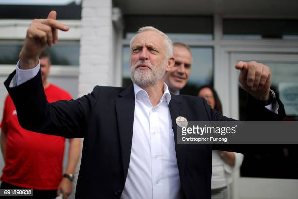 Labour leader Jeremy Corbyn greets supporters at Beeston Youth and Community Centre he visits the East Midlands during the final weekend of the...