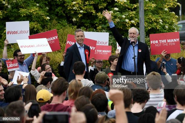 Labour leader Jeremy Corbyn greets supporters before giving a speech at Rivermead Leisure Centre on May 31 2017 in Reading United Kingdom Polling...