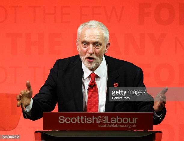 Labour leader Jeremy Corbyn hosts a general election rally at the Old Fruitmarket Candleriggs on May 28 2017 in Glasgow Scotland