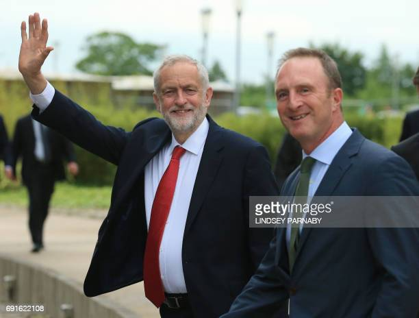 Labour leader Jeremy Corbyn is accompanied by head of BBC News James Harding on his arrival for the BBC One Question Time Leaders Special to be...