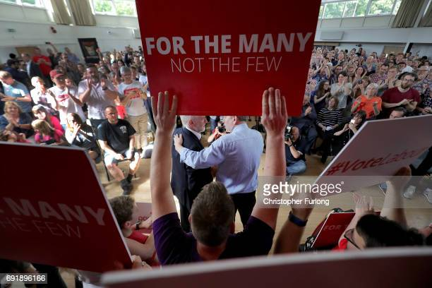 Labour leader Jeremy Corbyn is embraced by labour candidate Greg Marshall as he addresses a rally of supporters at Beeston Youth and Community Centre...