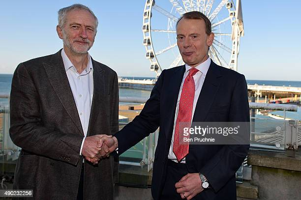 Labour Leader Jeremy Corbyn is greeted by Andrew Marr before an appearance on The Andrew Marr show ahead of the Labour Party Autumn Conference on...