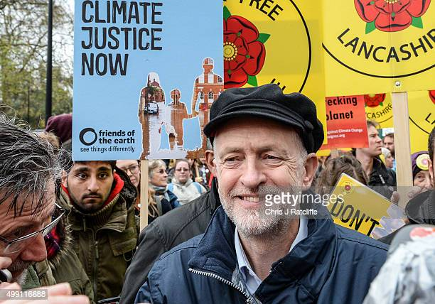 Labour leader Jeremy Corbyn is seen during the London Climate March as part of march events around the globe on the same day on November 29 2015 in...