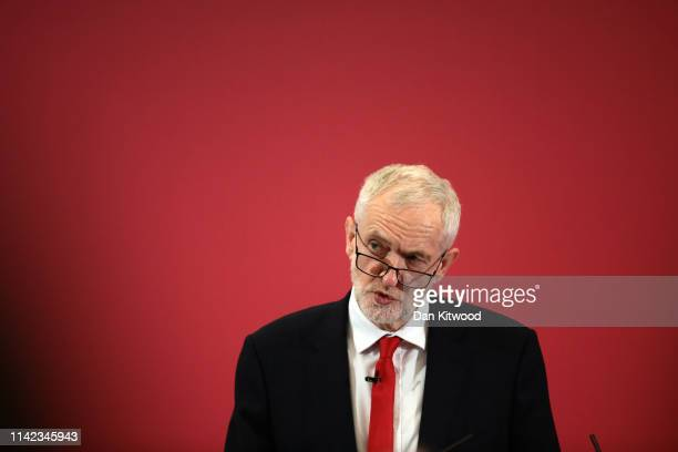Labour Leader Jeremy Corbyn Launches Labour's European Election Manifesto at The Drill Hall Library University of Kent Medway Campus on May 9 2019 in...