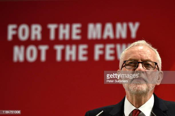 Labour leader Jeremy Corbyn launches the Labour Race and Faith Manifesto at the Bernie Grant Arts Centre on November 26 2019 in London England Mr...