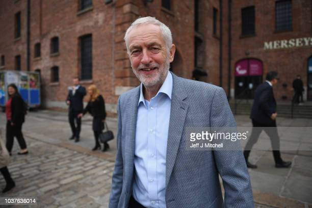 Labour leader Jeremy Corbyn leaves after a visit to the International Slavery Museum to mark the start of the Labour Conference on September 22 2018...