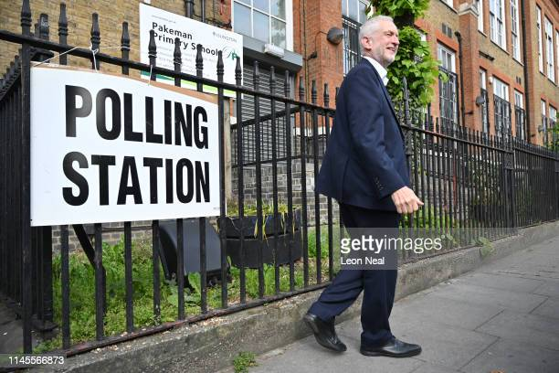 Labour leader Jeremy Corbyn leaves after voting in the European Elections at a polling station at Pakeman primary school in Holloway on May 23 2019...