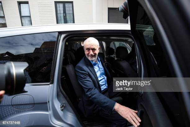 Labour Leader Jeremy Corbyn leaves by car after delivering a campaign speech on leadership on April 29 2017 in London England Britain is to go to the...