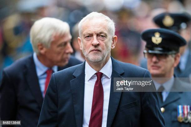 Labour leader Jeremy Corbyn leaves following a service to mark the 77th anniversary of the Battle of Britain at Westminster Abbey on September 17...