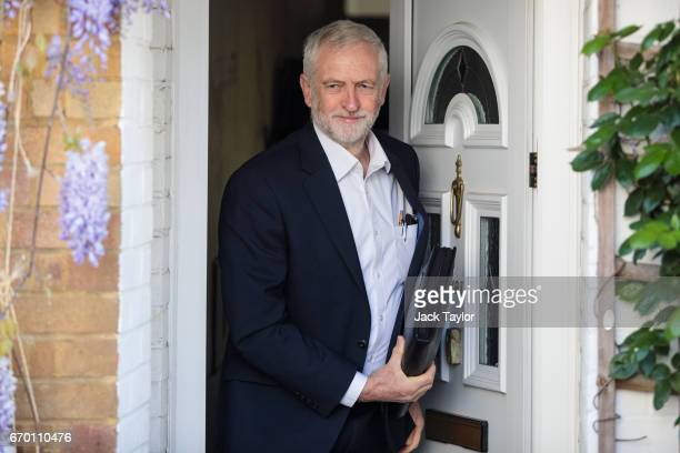 Labour Leader Jeremy Corbyn leaves his home on April 19 2017 in London England British Prime Minister Theresa May yesterday called for a snap...