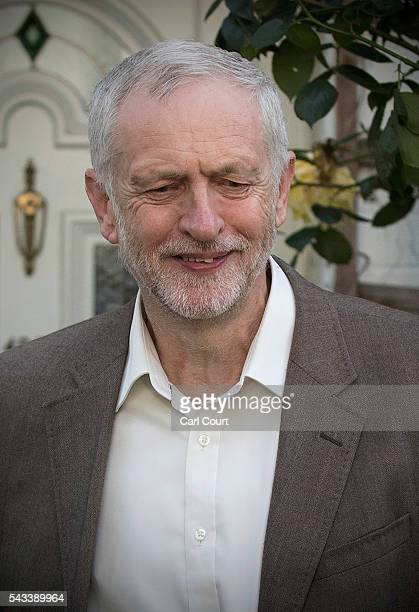 Labour leader Jeremy Corbyn leaves his home on June 28 2016 in London England Mr Corbyn is facing increased calls to resign as leader and a vote of...
