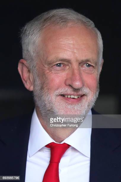 Labour Leader Jeremy Corbyn leaves his home on June 9 2017 in London England After a snap election was called by Prime Minister Theresa May the...