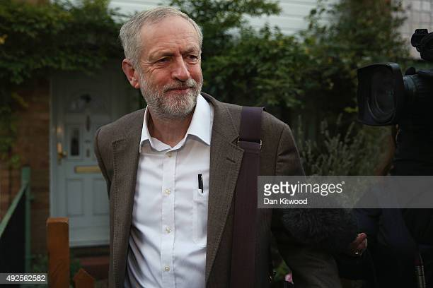Labour leader Jeremy Corbyn leaves his home on October 14 2015 in London England Mr Corbyn will take part in his second weekly Prime Ministers...