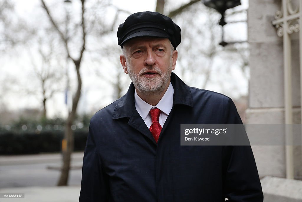 Labour Leader Jeremy Corbyn leaves Millbank studios after conducting Radio interviews on January 10, 2017 in London, England. Mr Corbyn is due to deliver a Brexit speech later today in Peterborough where he is expected to say that Labour has 'no principled objection to ending the free movement of European workers in the UK'.