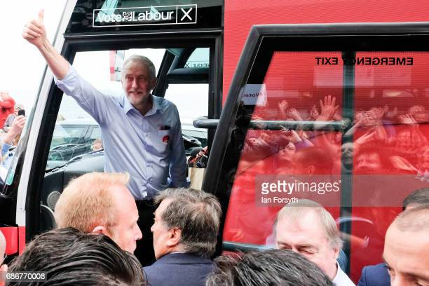 Labour Leader Jeremy Corbyn leaves on the ampaign bus after speaking to supporters during a visit to the Spa buildings on Scarborough seafront as he...